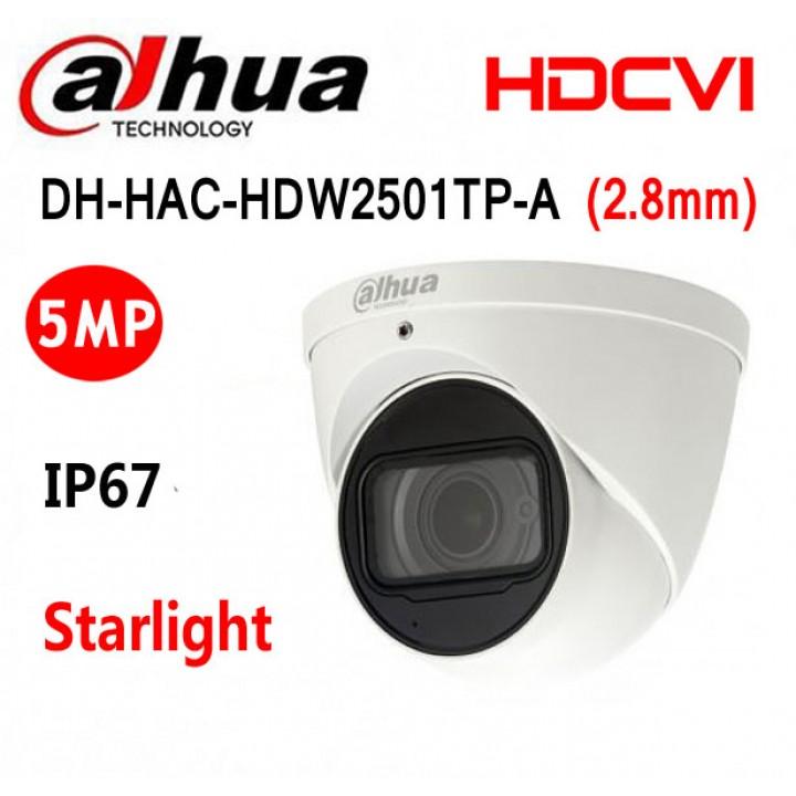 Dahua DH-HAC-HDW2501TP-A (2.8 мм) Starlight CVI видеокамера на 5 MP