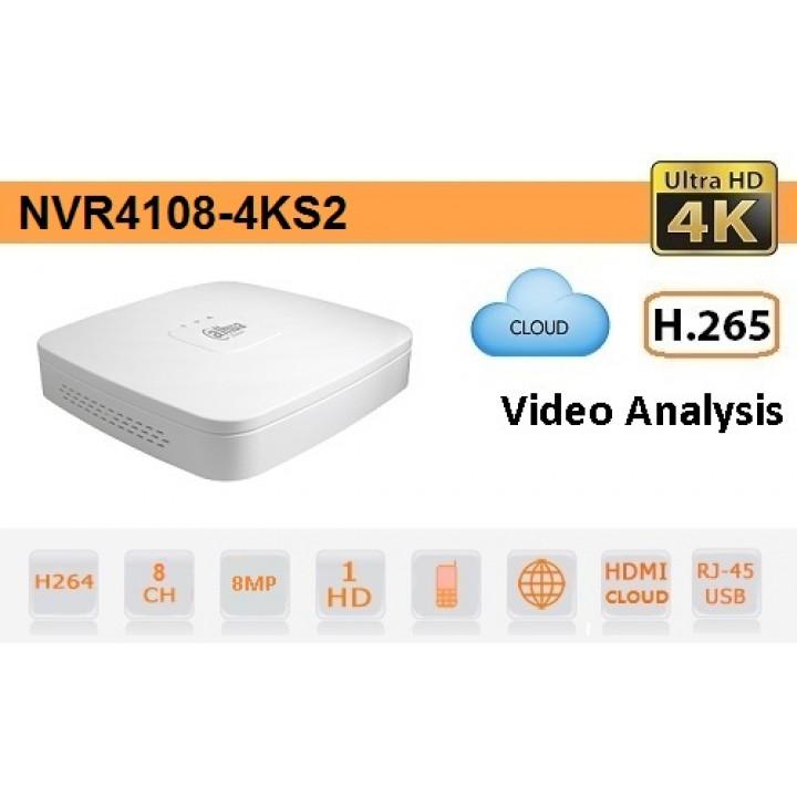 IP видеорегистратор Dahua DH-NVR4108-4KS2 на 8 камер