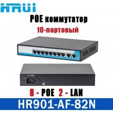 POE коммутатор 10-портовый HongRui HR901-AF-82N